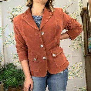 Vintage muted red orange suede blazer